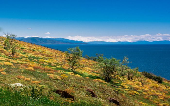Lake Sevan - one of the largest freshwater high-altitude lakes in Eurasia, its altitude is 1900 m above sea level.