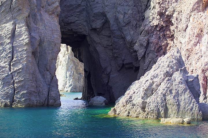 Natural arches in the volcanic rocks of Lipari´s coastline