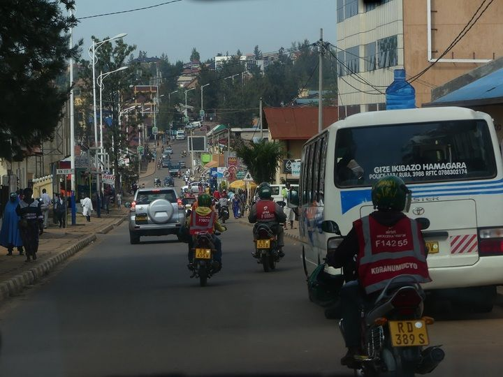 Streetview in Kigali with the typical motorcycle taxi´s
