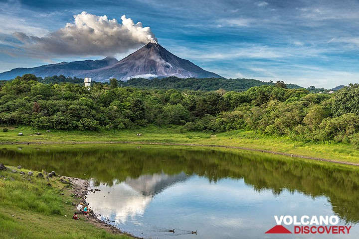 Vew of Colima reflected in lake