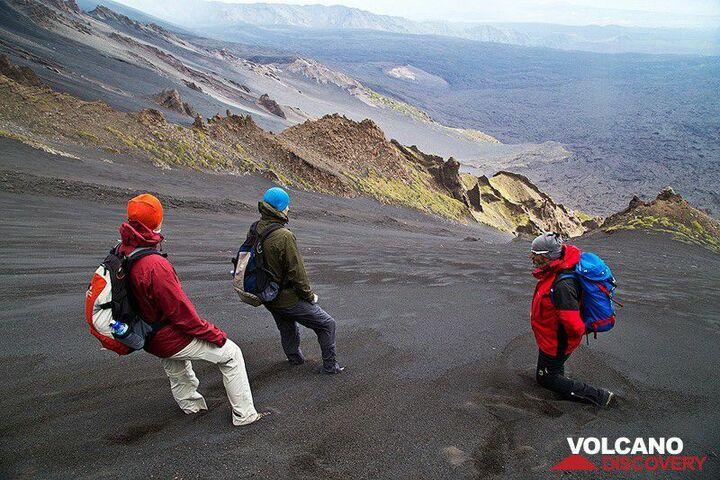 Descending along Etna´s steep ash slopes into the Valle del Bove