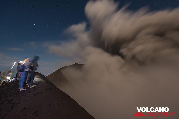 Eruption of Dukono at night