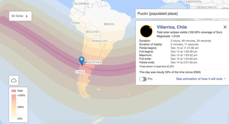 Path of the eclipse and location of our viewpoint (image: timeanddate.com)