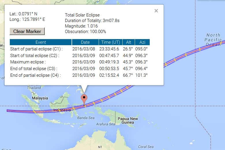 Path of the 2016 total solar eclipse and our observation location