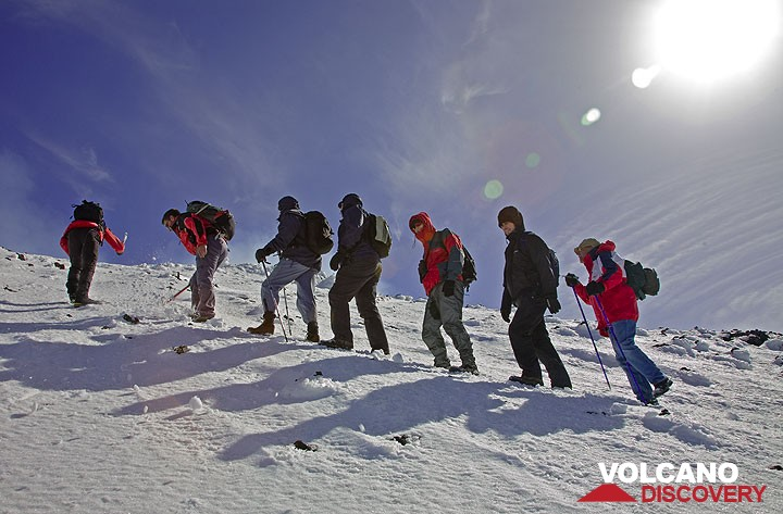 Winter hiking on Etna, on the way to Bocca Nuova crater