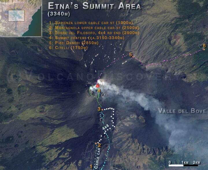 Itinéraires sur l'Etna