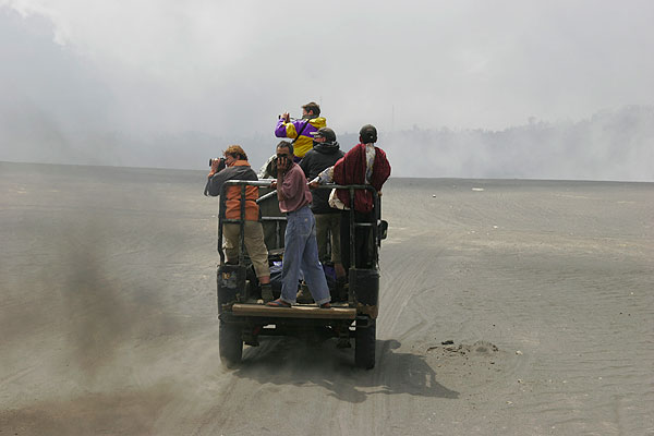 "Jeep ride through the ""Sand Sea"" desert in the caldera of Tengger."