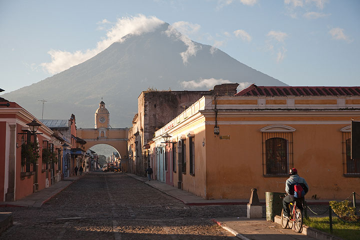Agua volcano looming over Antigua town