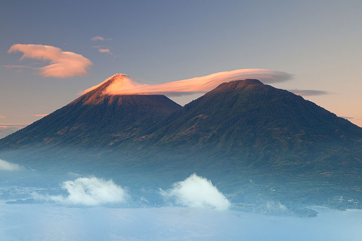 Toliman and Atitlán volcanoes in the morning