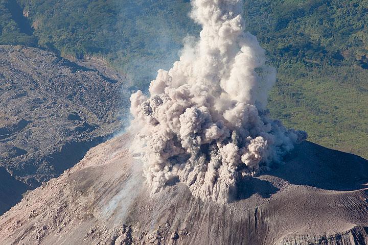 Santiaguito lava dome erupting ash