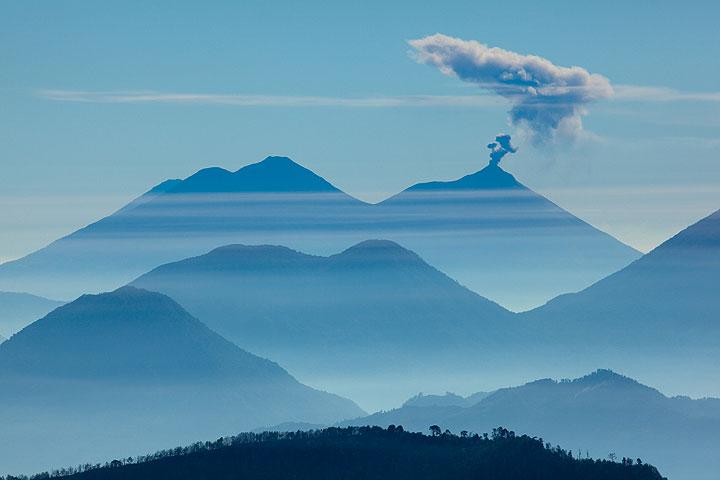 Silhouettes of Acatenango, Fuego and Atitlan volcanoes