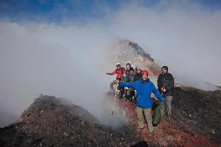 In front of an active hornito on the summit of Pacaya