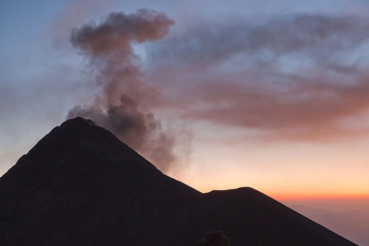 Ash eruption from Fuego at dusk
