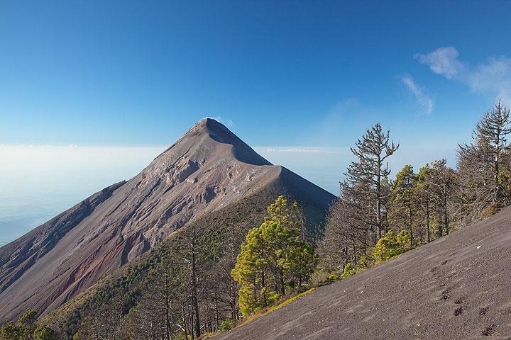 The active cone of Fuego volcano seen from Acatenango