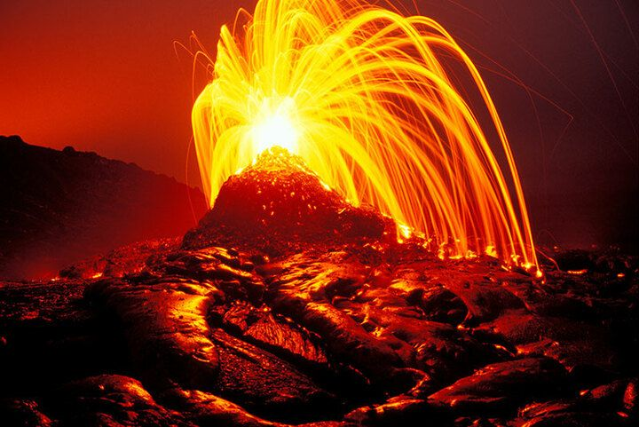 Lava shooting into the air from an erupting skylight