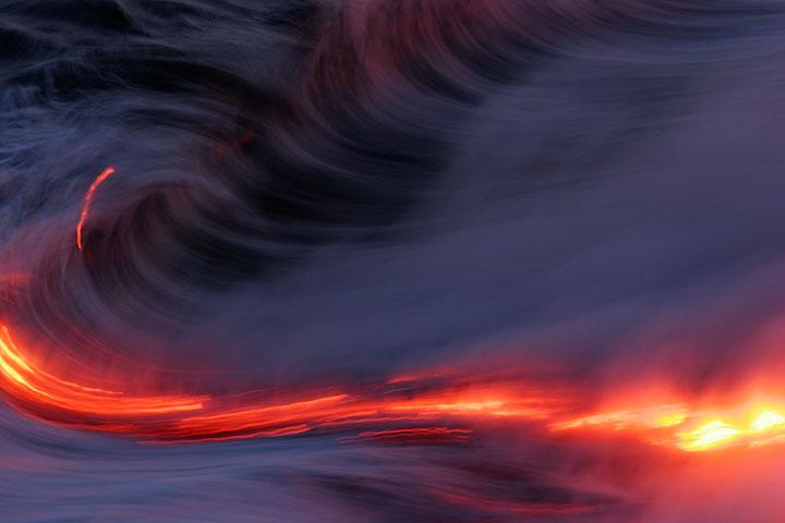 Lava in the Pacific Ocean (Hawai'i)