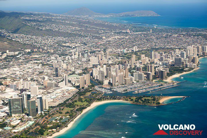 Waikiki seen from the arriving plane