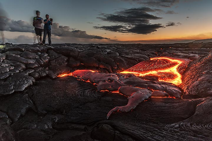 When possible we hike to active outbreaks of lava flows
