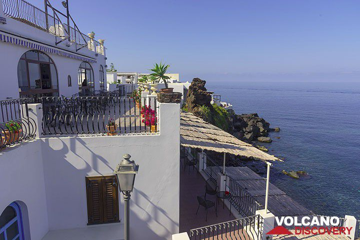 The hotel in Stromboli is build on top of the lava cliffs and has a small private beach