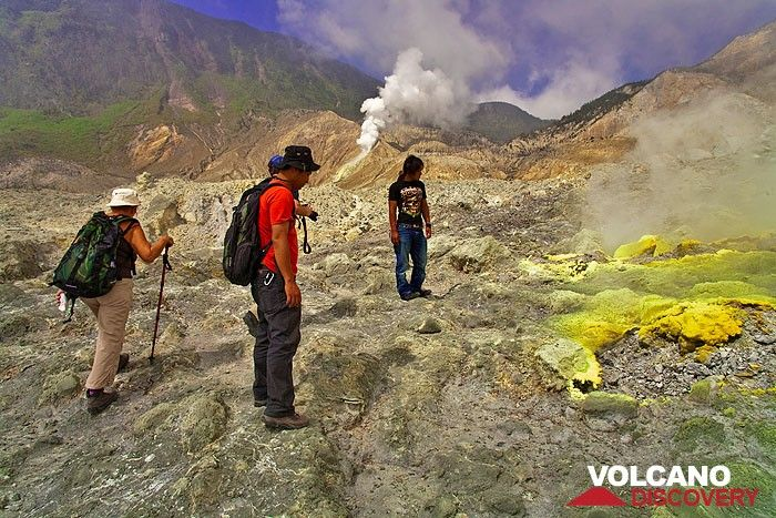 Inside the crater of Papandayan volcano