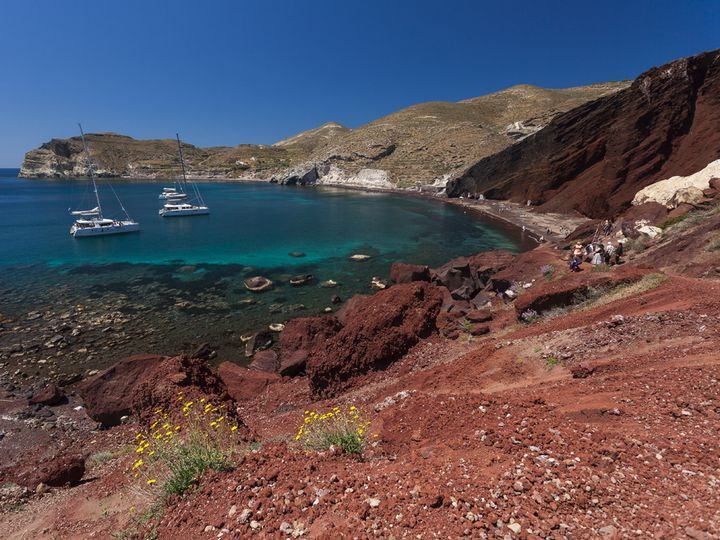 """The famous """"red beach"""" volcano"""