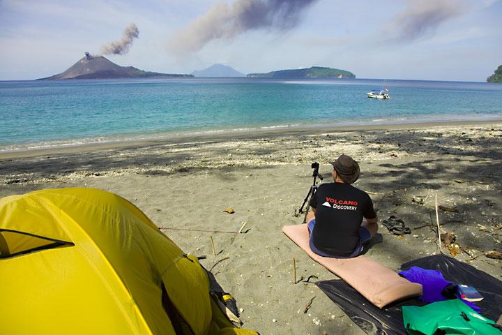 Watching eruptions of Anak Krakatau from the beach of a neighbouring islet