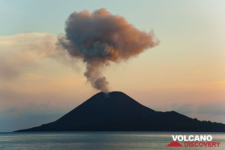 Ash plume rising up from Anak Krakatau in the late evening
