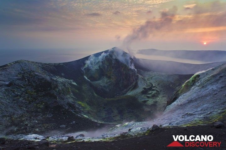Sunrise seen from the summit crater of Anak Krakatau when the volcano was not active in July 2012