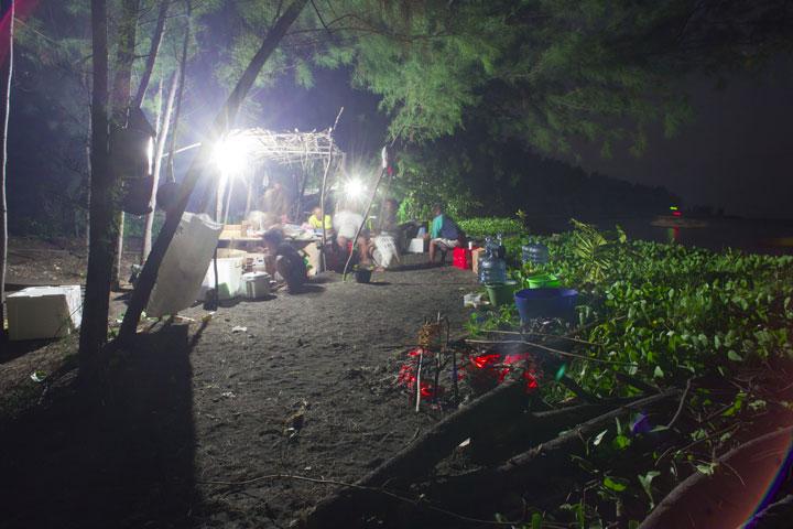 Camp on Krakatau in the evening