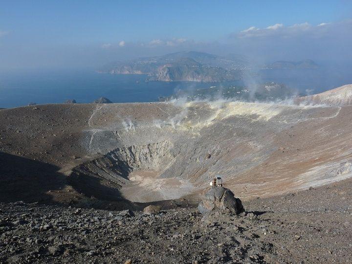 """Vulcano´s active """"La Fossa"""" crater with Lipari in the background"""