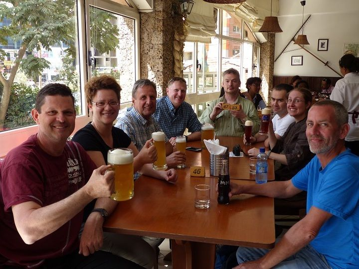 Digesting the Danakil volcano adventure over a pint and longmissed western lunch at the ´´Beer Garden Inn´´ in Addis Ababa (Ingrid Smet - November 2015)