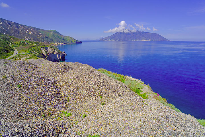 View from Lipari to the island of Salina