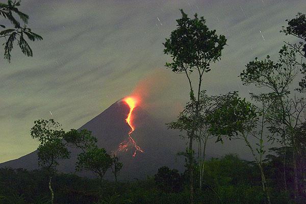 Merapi volcano in eruption