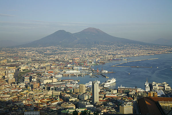 View over the city of Naples at the foot of Mt Vesuvius