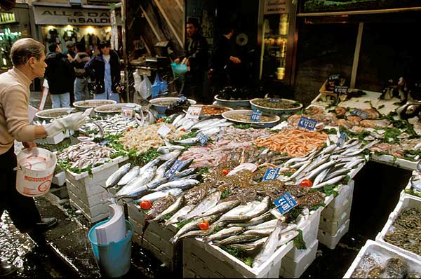 Fish on a market in the center of Naples