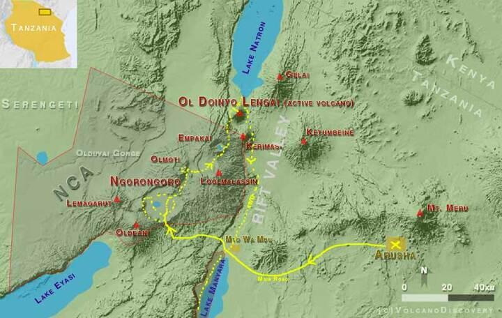 Tour itinerary: Arusha - Lake Manyara - Ngorongoro - Olmoti - Empakai - Lake Natron - Lengai volcano - Arusha