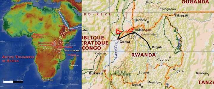 Localisation du volcan Nyiragongo et de l'itinéraire du trek