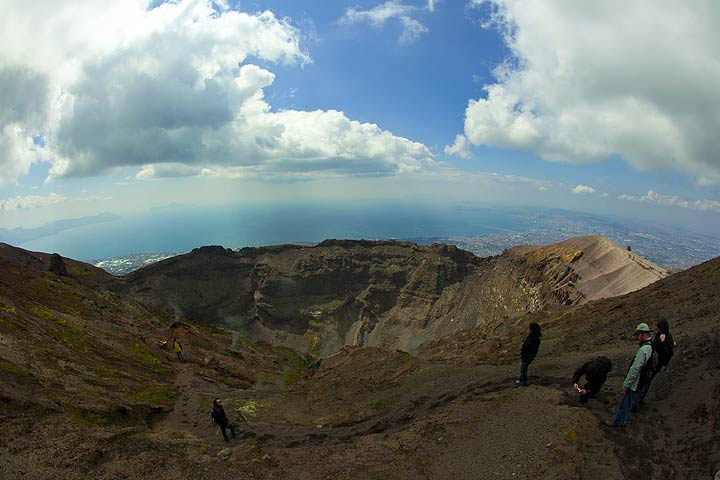 Standing on the summit of Vesuvius volcano