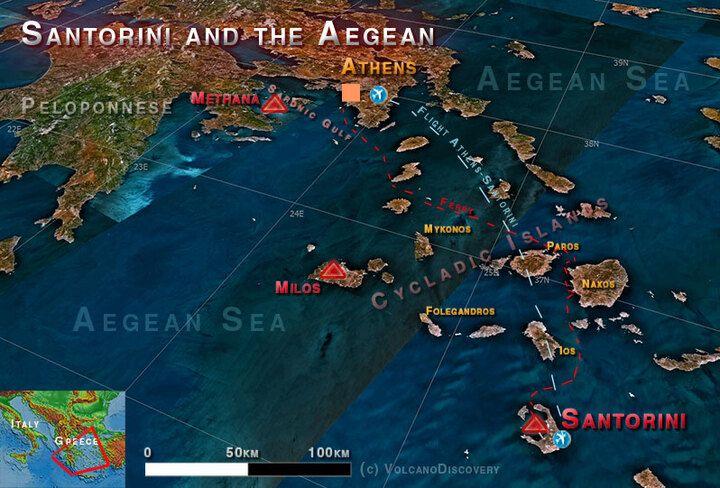Lage Santorins im Ägäischen Meer