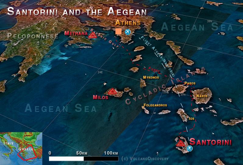 Localisation de Santorin dans la mer Égée