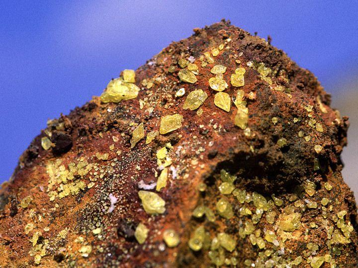 Schwefelkristalle am Nea Kameni Krater