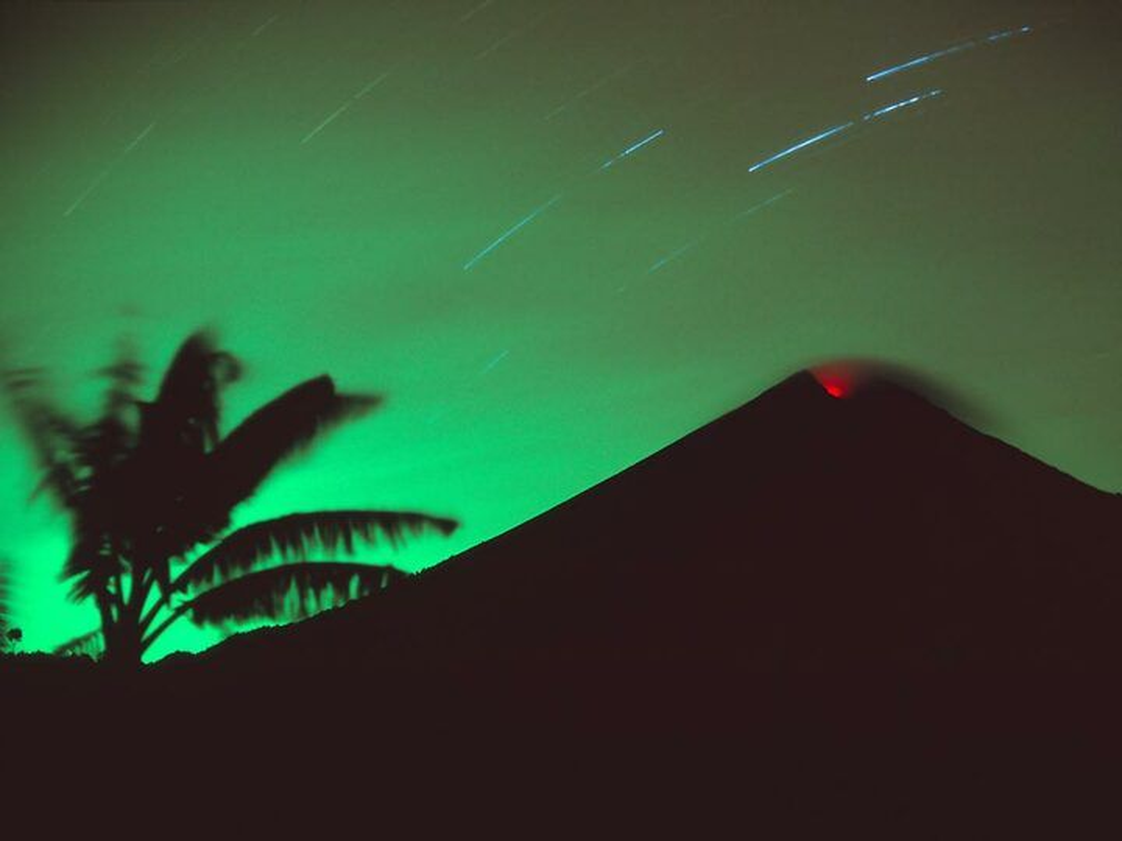 Semeru volcano at night