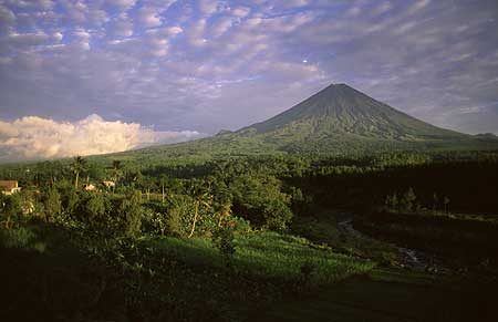 View onto Semeru volcano in the morning