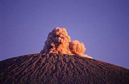 An eruption from Semeru in the afternoon light