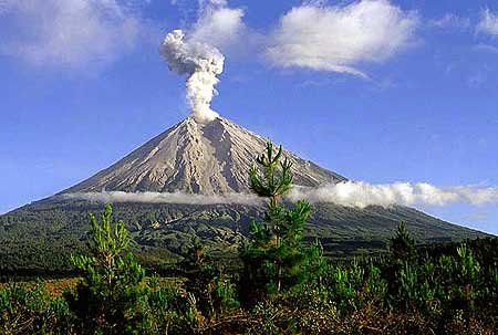 Semeru volcano with an eruption