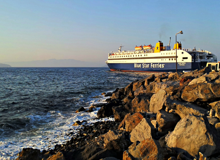 We depart from Nisyros with a local ship company