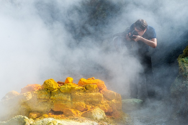 Photographing sulphur deposits and fumaroles at Solfatara volcano