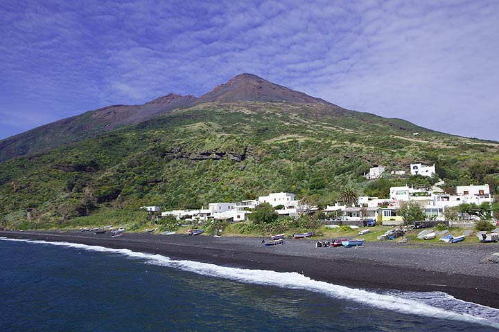 Stromboli island with the volcano´s summit and black sand beaches