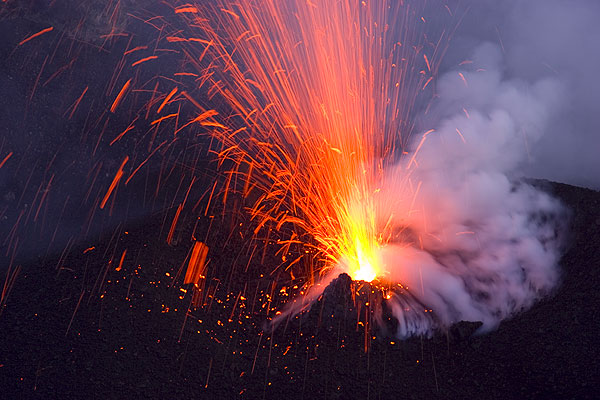Lava fountain from a vent inside Stromboli's crater