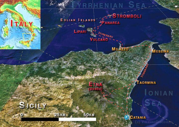 Reiseverlauf: Catania - Taormina (1N) - Vulcano (1N) - Stromboli (3N) - Lipari - Etna (3N)
